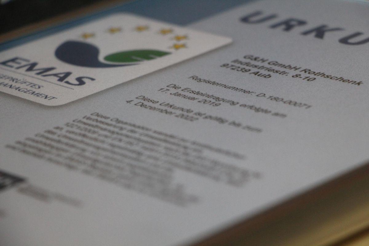 Produktinformationen EMAS Zertifikat | Rothschenk
