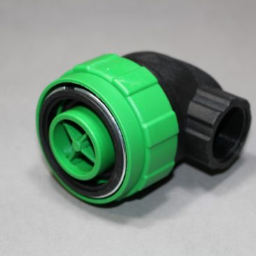 A 90 degree adapter SMART outlet quick connect in synthetic material for blowing up inflatable airbags