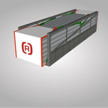 Eine Zeichnung einer verschlossenen Gestellplane an einem Container.