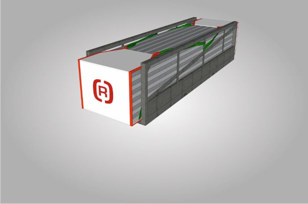 A drawing of a closed rack tarpaulin at a container.
