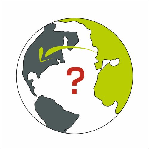 Our icon for projects. On a round map pf the world Europe and Africa are a light green, America is a dark grey. A light green arrow is going over the Atlantic, in its middle there is a questionmark