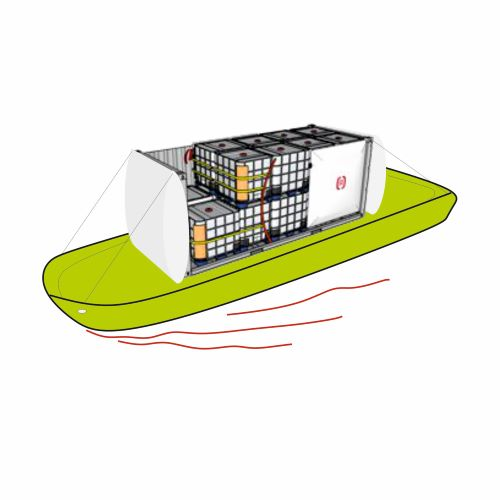 The icon for the project. A container with IBCs secured by a dunnage bag.