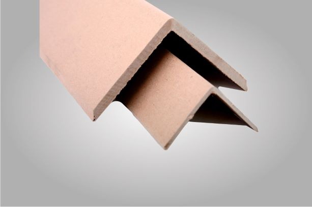 Two square edge protectors made from cardboard
