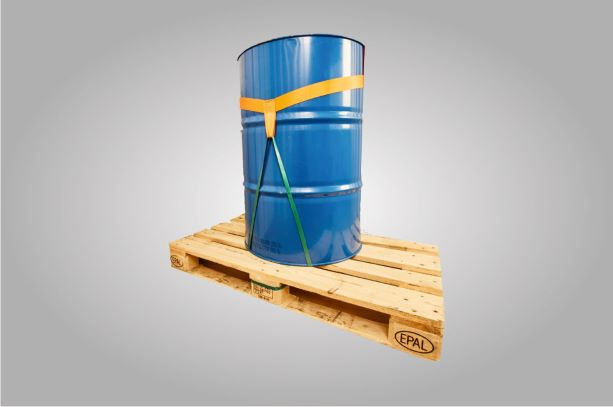 A reusable securement for a barrel on a pallet.