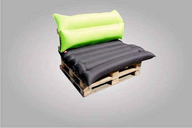 A speed chair as a palett furniture in lime green and black