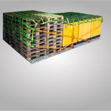 A truck loading security net is streched over stacked pallets.