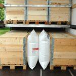 Anwendungsbild einer Doppelkammer zwischen zwei Paletten in einem Container.