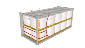 Zeichnung eines 20 Fuss Container beladen mit 20 Big Bags Rothschenk