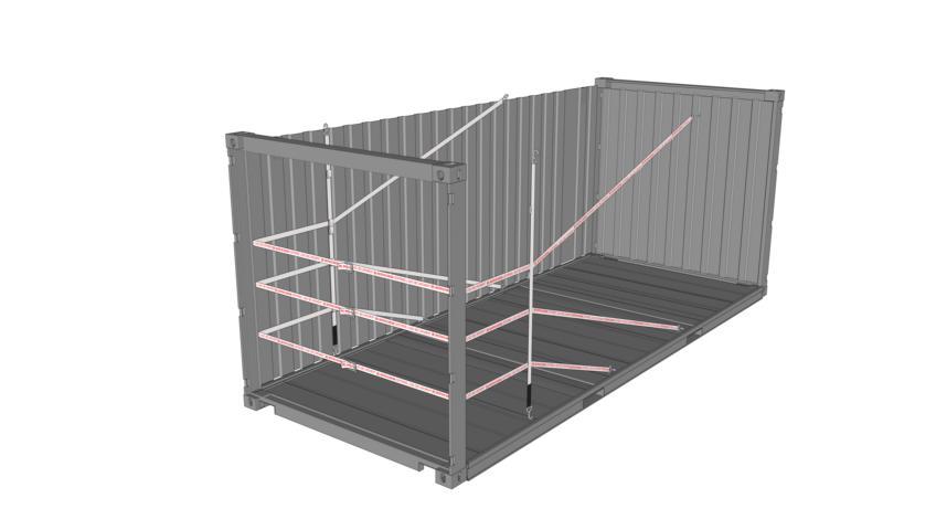 Chemische Produkte sichern - Zeichnung eines 20 Fuss Container beladen mit 3er Lashing Flex Rothschenk