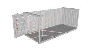 Zeichnung eines 20 Fuss Containers beladen mit 4er Lashing Lash Flex
