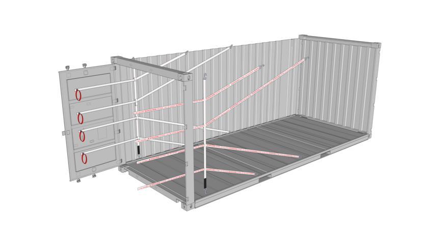 Getränketransport | Rothschenk |Zeichnung eines 20 Fuss Containers beladen mit 4er Lashing Lash Flex