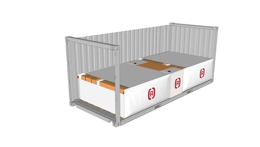 Zeichnung eines 20 Fuss Container beladen mit 5er Block mit SAM Karton mit zwei 3D Staupolstern als 5er Block mit SAM