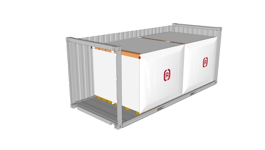 Getränketransport | Rothschenk | Zeichnung eines 20 Fuss Containers beladen mit Doppelstock-5er Blocks mit SAM Staupolste Rothschenk