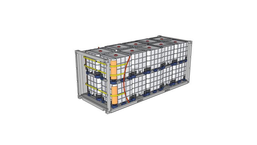 Zeichnung Containeroptimierte IBC doppelstöckig, gesichert mit Staupolster, Lashing, Kantenschutz