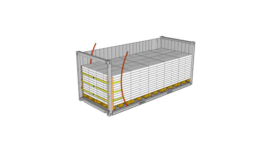 Drawing of a 20 foot container loaded with bagged cargo high 3 lashing