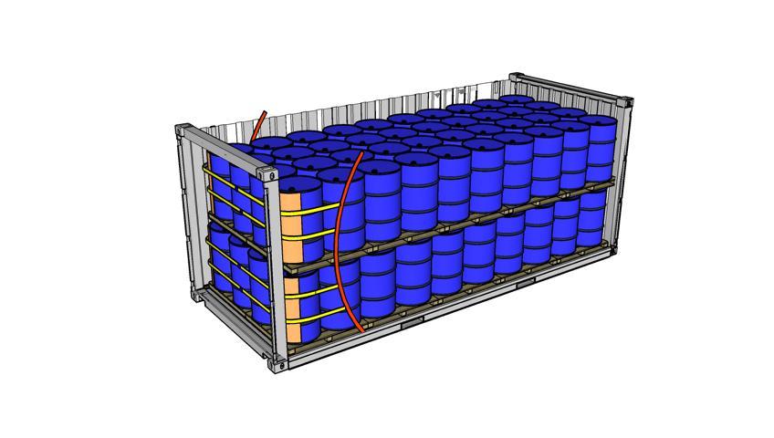 Zeichnung eines 20 Fuss Containers beladen mit zweistöckig Fässer 4er Lashing Rothschenk Individuallösungen