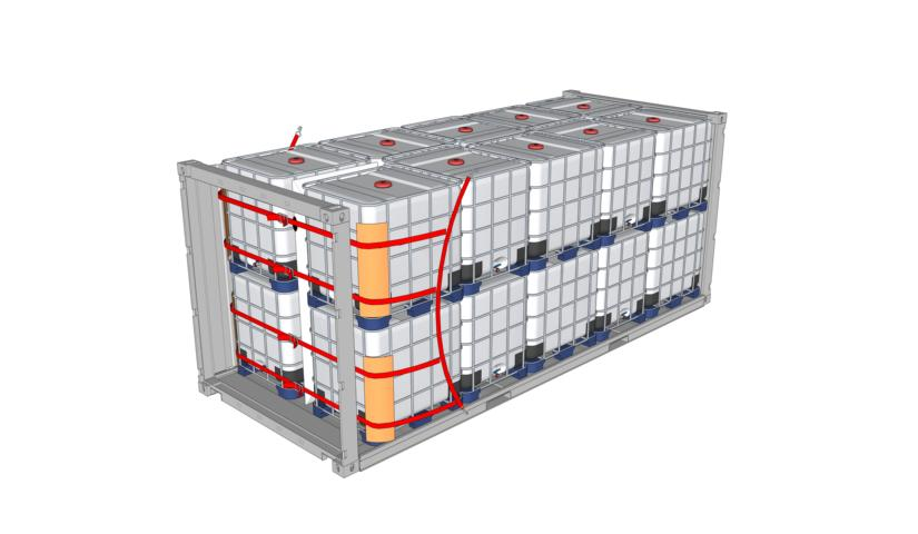 Containeroptimierte IBC doppelstöckig, gesichert mit Staupolster / Lashing / Kantenschutz