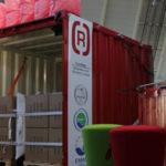 Beim Messestand der G&H GmbH Rothschenk auf der Fachpack in Nürnberg wird typisches Beispiel für eine Ladungssicherung eines Containers vorgestellt.
