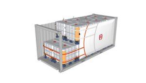 Eine Zeichnung eines Containers mit IBC beladen, die mit einem Staupolster in Übergröße, Pappkantenschutzwinkeln und Gurtbändern gesichert ist.